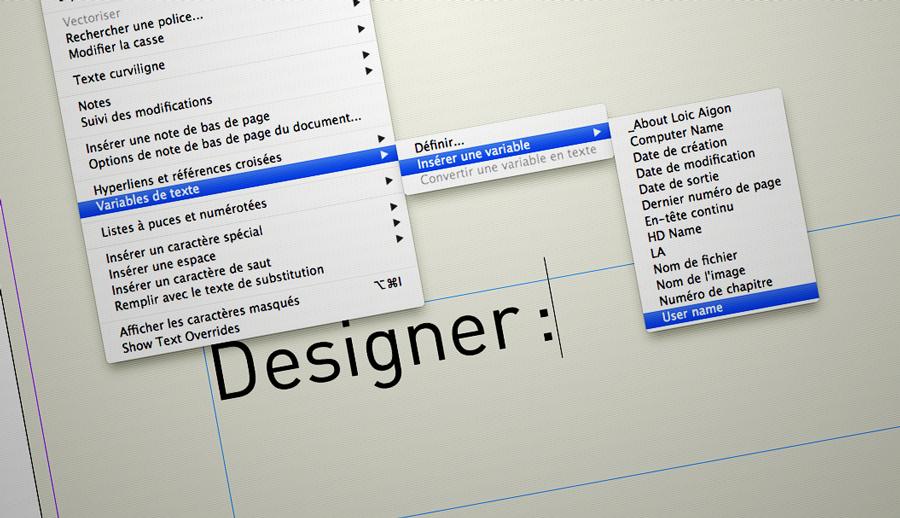 Ajoutez des variables très personnalisées dans InDesign