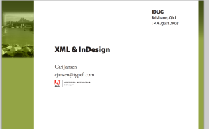 XML and InDesign By Cari Jansen