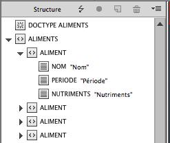 InDesign XML structure