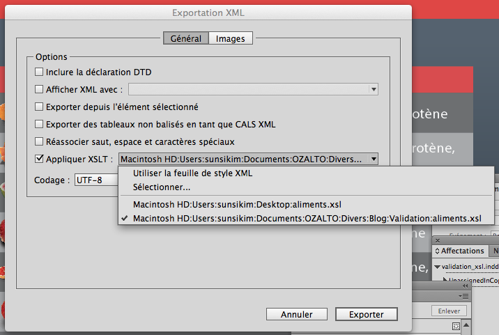 Export XML from InDesign with XSLT