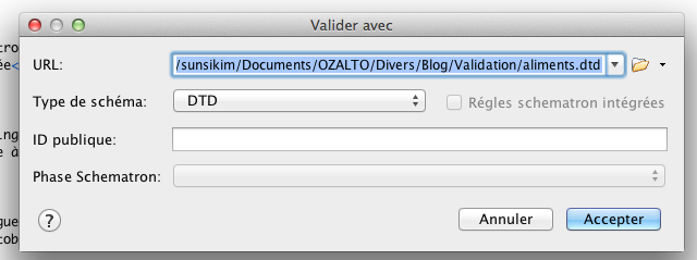 Validating XML syntax with DTD